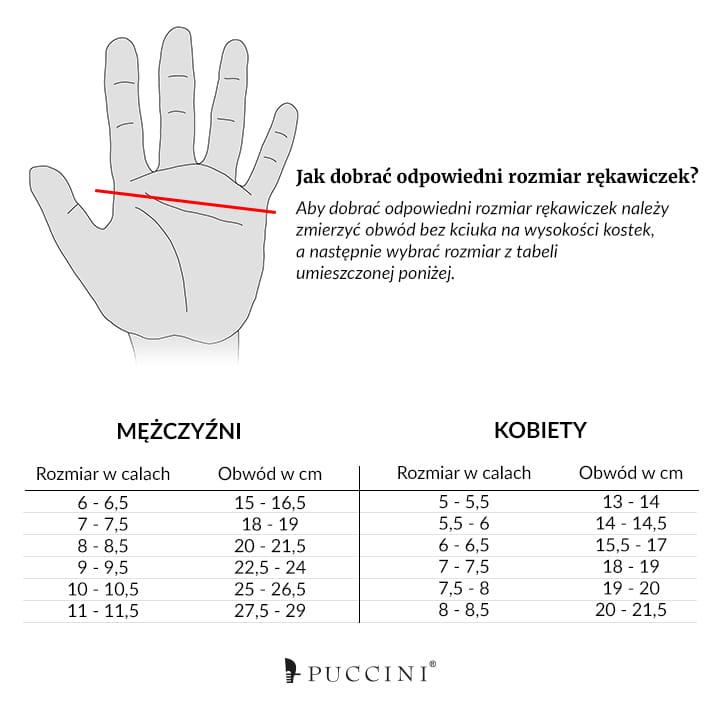da4dbbbb79eef Skórzane Rękawiczki Damskie Puccini · Damskie Skórzane Rękawiczki Puccini ·  Rozmiary Rękawic ...