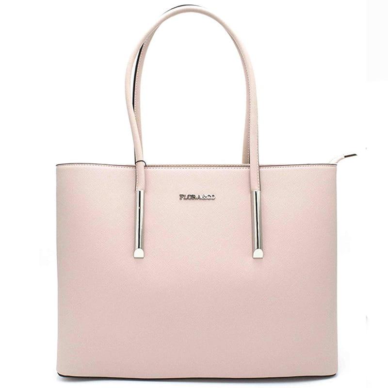 6a7eda6130504 FLORA CO Różowa elegancka torebka damska A4 (id 553) ZOUZI