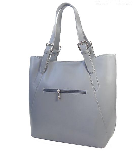 187426ae06b2a ... Torebka skórzana Shopper bag - Vera Pelle Popielata ...