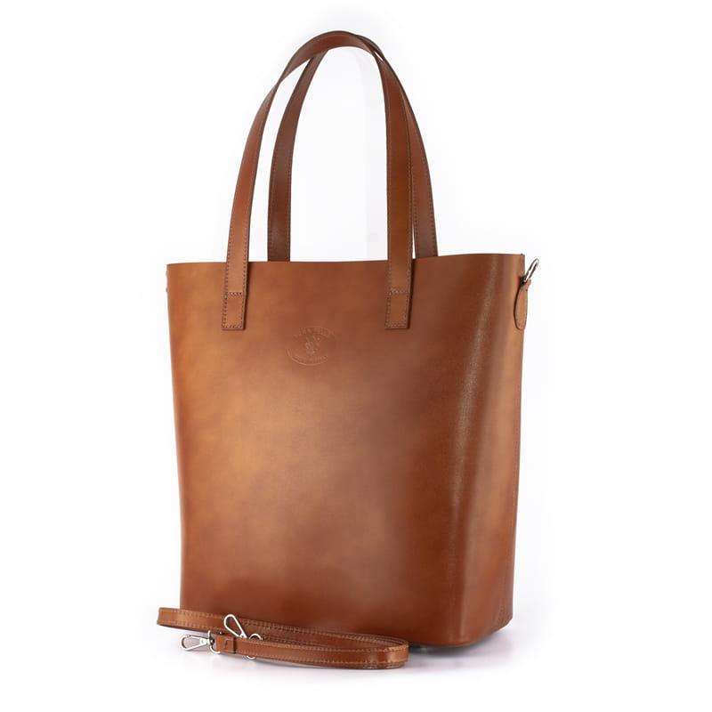 f6487cbfbf9e1 Vera Pelle Włoska torebka skórzana Shopper Bag Camel/Rudy (id 608) ZOUZI