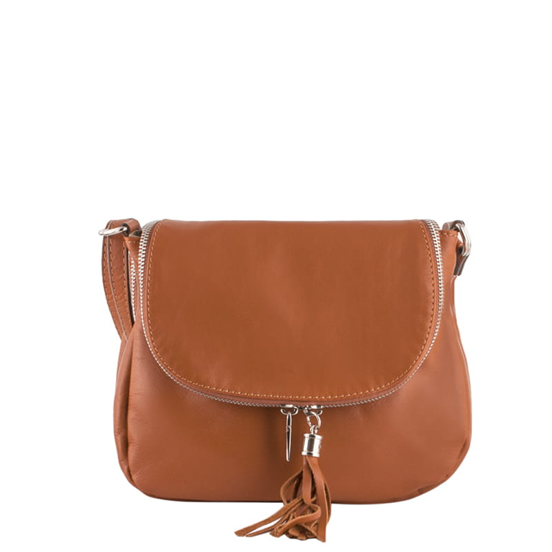 b03fb99367579 Skórzana torebka z klapką - ruda (id 327) Mniejsza ZOUZI
