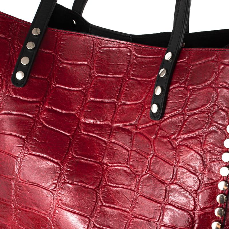 Skórzana Torebka Shopper Bag z Ćwiekami A4 Wzór Krokodyla Czerwona (id 737)