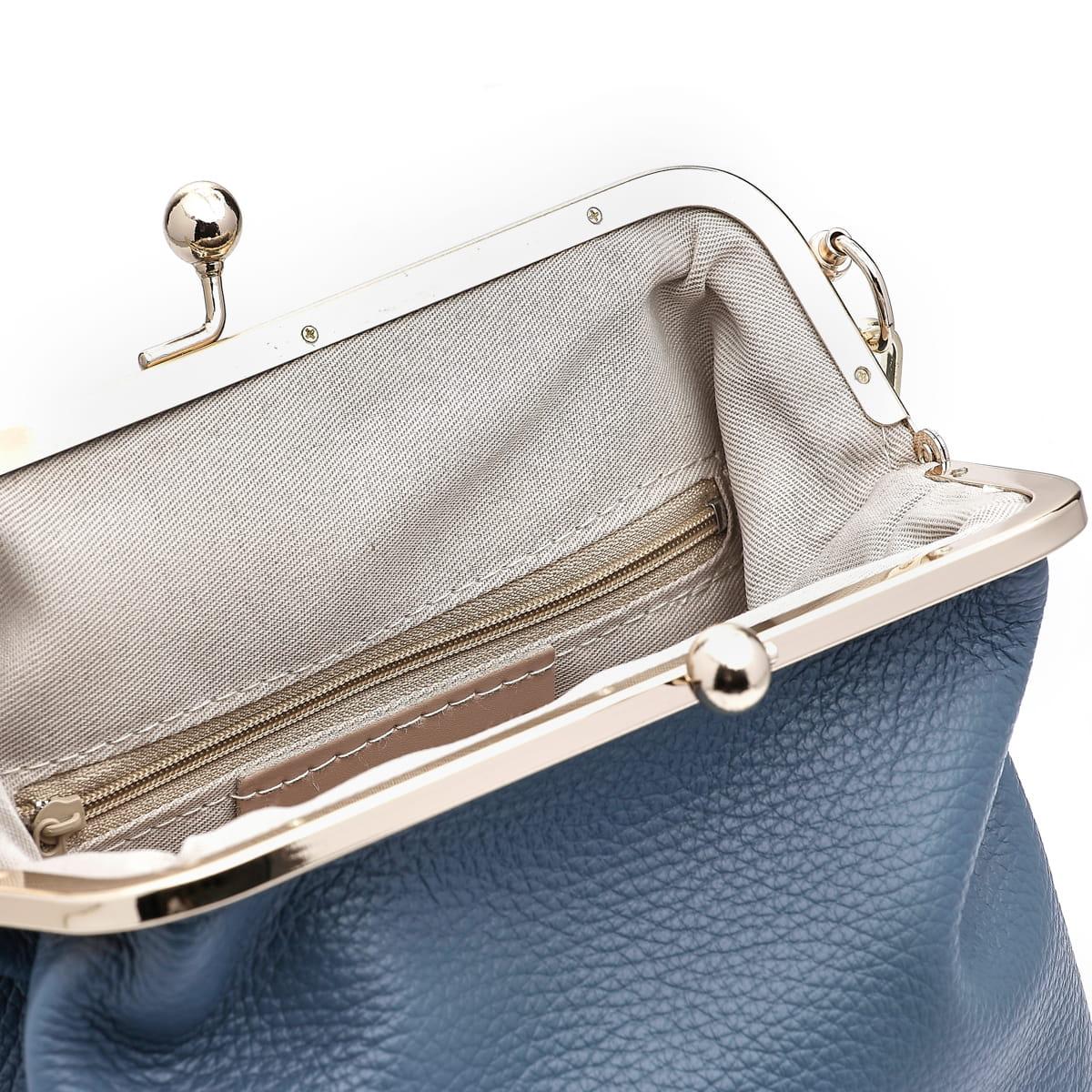 Mała skórzana torebka na złotym łańcuszku blue jeans (id 874)
